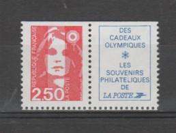 """FRANCE / 1991 / Y&T N° 2715a ** : Briat 2,50F Rouge + Vignette """"Cadeaux Olympiques"""" X 1 BdC D - Unused Stamps"""