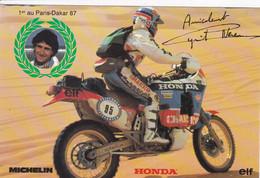 SPORTS MOTO Cyril Neveu ,cp Dédicacée , 1 Er Au Dakar En Honda , Publicité Michelin Elf - Motociclismo