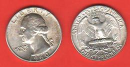 Usa Quarter 25 Cents 1960 D America Washington Silver Coin - 1932-1998: Washington