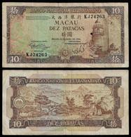 MACAU BANKNOTE 10 PATACAS 1984 P#59c F/VF (NT#06) - Macau