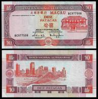 MACAU BANKNOTE 10 PATACAS 2001 P#76a AU (NT#06) - Macau