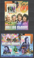 CA806 2012 CENTRAL AFRICA CENTRAFRICAINE FAMOUS PEOPLE ROLLING STONES 50TH ANNIVERSARY 1KB+1BL MNH - Music