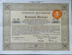 Gemeentelijke Lening Rotterdam 1936 Deco - Sin Clasificación