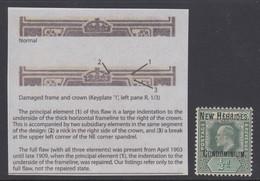 """New Hebrides, SG 4 Var, MHR """"Damaged Frame & Crown - Spaven"""" Variety - Unused Stamps"""