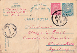 A4600- Postcard, Popular Romanian Republic IOVR Stamp, AIUD 1948  Used Postal Stationery - Enteros Postales