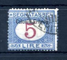 1903 ERITREA Segnatasse N.10 5 LIRE USATO - Eritrea