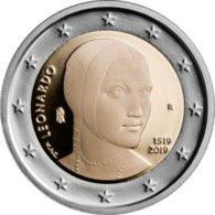 """2 EURO COMMEMORATIVO ITALIA 2018 FDC """"500° Anniv. Morte Leonardo Da Vinci"""" - Italy"""