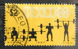 MZ111 -  MESSICO 1967 2$ - 1 VALORE USATO - POSTA AEREA - GIOCHI OLIMPIONICI 68 - SOLLEVAMENTO PESI - Mexico