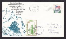 USA: Cover, 1970, 1 Stamp & Cinderella Label Fireside Local Post, James Cook, Explorer, Navigator (traces Of Use) - Brieven En Documenten