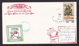 USA: Cover, 1970, 1 Stamp & Cinderella Label Fireside Local Post, Christmas, Santa Claus (minor Crease) - Brieven En Documenten