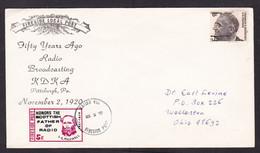 USA: Cover, 1970, 1 Stamp & Cinderella Label Fireside Local Post, JC Maxwell, Radio Broadcasting (minor Discolouring) - Brieven En Documenten