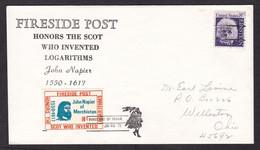 USA: Cover, 1971, 1 Stamp & Cinderella Label Fireside Local Post, John Napier, Logarithm, Science, Math (traces Of Use) - Brieven En Documenten