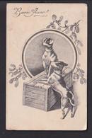 D38 /   Hunde Neujahr / Feldpost Zensur Fiume 1916 - Unclassified
