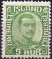 IJSLAND 1920-22 5aur Groen Christian X Gebroken Lijnen In OvaalPF-MNH - Nuevos