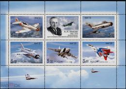 RUSSIE/RUSSIA/RUSSLAND/ROSJA 2005 MI.1276-80** Blok 82, ,ZAG.1044-48 ,YVERT.6893-97,- , Mikoyan, Aviation, Airplanes, - Unused Stamps