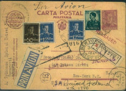1946, Registered Air Mail Card From BUKAREST Via Lisboa (Lissabon) To New York With Censor And Arrival Marks - Unclassified