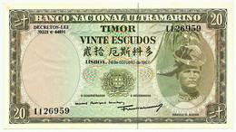 TIMOR - 20 ESCUDOS - 24.10.1967 - P 26 - AUnc. - Sign. 7 - 7 Digits - REGULO D. ALEIXO - PORTUGAL - Timor