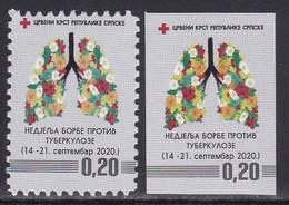 Bosnia Serbia 2020 Tuberculosis TBC Red Cross Croix Rouge Rotes Kreuz Cruz Flowers Flora Plants MNH - Bosnia Herzegovina