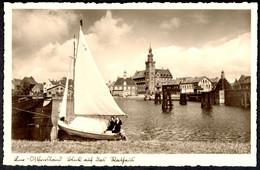 "Leer Ostfriesland 1937 "" Rathausblick Mit 2 Personen In Segeljolle "" Carte Postale - Leer"