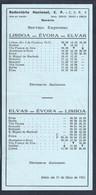 Horário Da Rodoviária Nacional De Lisboa, Évora A Elvas. Schedule Of The National Bus Station Of Lisbon, Évora To Elvas. - Europe