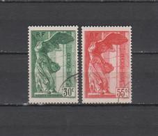 FRANCE N° 354 & 355 = 2 TIMBRES SAMOTHRACE OBLITERES DE 1937     Cote : 100 € - Used Stamps