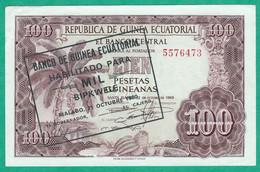GUINEE EQUATORIALE - BILLET DE 100 PESETAS1969, SURCHARGE 1000 BIPKWELE EN 1980 - 2 SCANS - Equatorial Guinea