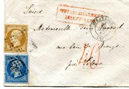 Enveloppe Stasbourg Pour Soleure Insuffisamment Affranchie à 30 C Taxée 40 C 2 Septembre 1857 Sup - 1849-1876: Classic Period