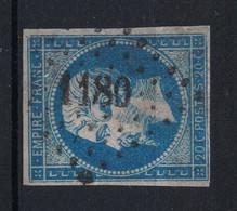 OBLITÉRATION PC 1180 PETITS CHIFFRES De Entraygues-sur-Truyères (Aveyron)  SUR NAPOLÉON N° 14 - 1853-1860 Napoléon III