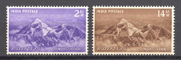 India, 1953, Mount Everest First Ascent, Mountains, Mountaineering, Climbing, MNH, Michel 228-229 - Non Classificati