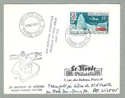 1969 TAAF / FSAT N° 31 PREMIER JOUR EN TERRE ADÉLIE, TRANSPORTÉ PAR HÉLICOPTÈRE - Brieven En Documenten