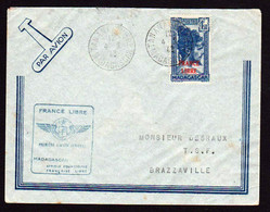 MADAGASCAR (France Libre) 1er. Vol. Timbre N°45 Obl Tananarive Le 04/02/43 Cachet Bleu France Libre... - Madagascar (1960-...)