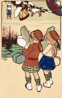 6 CPA - SÉRIE COMPLÈTE, FULL SET - WW1 Propaganda Propagande - V. CASTELLI - I Piccoli Alleati, Les Petits Alliés - SV28 - Guerra 1914-18