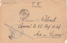 Cachet Colonel Commandant 163è Régiment Infanterie BASTIA Corse 6/3/1901 Pour Aix En Provence - Military Postmarks From 1900 (out Of Wars Periods)