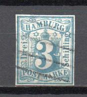 - ALLEMAGNE / HAMBOURG N° 4 Oblitéré - 3 S. Bleu-vert - Cote 180,00 € - - Hamburg
