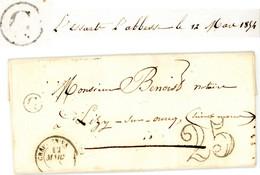 OISE LAC 1854 CREPY EN VALOIS BOITE RURALE C = L'ESSART L'ABESSE - 1849-1876: Classic Period