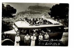 Autocar En Excursion Au Dessus De Monte Carlo Carte Photo 1937 - Bus & Autocars