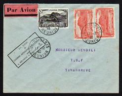 LA REUNION (Dpt Et Région D'outre Mer) 1er Vol. Timbresn°136 X 2 + N° 169 Obl Saint Denis Le 11/12/40.... - Poste Aérienne