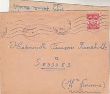 Cachet Militaire Base Aérienne De Pérignon TOULOUSE Haute Garonne Timbre FM 28/4/1952 à Seysses - Military Postmarks From 1900 (out Of Wars Periods)