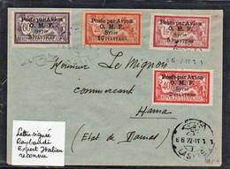 """SYRIE (Poste Aérienne) Timbres PA N°10/13 Obl. Laskié """"Poste Par Avion"""" Pour Hama En 1922 (arrivée Le Même Jour)... - Syrie"""