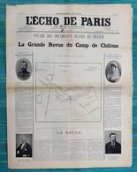 Journal L'Echo De Paris - Supplément Gratuit - Voyage Des Souverains Russes En France - La Grande Revue De Chalons 1896 - 1850 - 1899