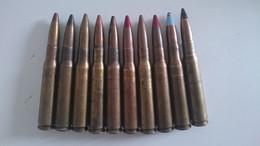 10 Munitions De 12.7 Neutralisées Par Perçage Et Amorces Percutées Ww2 - Decorative Weapons
