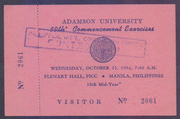 ADAMSON University Of Manila PHILIPPINES - Visitor Card Year 1996 - Philippines