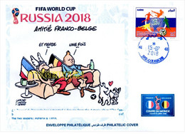 ARGELIA 2018 - Philatelic Cover Tintin Asterix FIFA Football World Cup Russia 2018 Fußball France Belgique Belgium - Comics