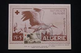 ALGÉRIE - Carte Maximum En 1957 - Croix Rouge - Cigogne -  L 96093 - Covers & Documents