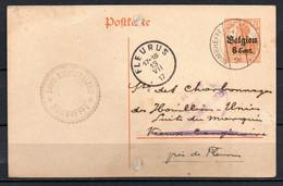 """BZ/OC 13 Op Kaartbrief Gestempeld Van SOMBREFFE Naar FLEURUS + Stempel """"Robert BELCHEVALERIE"""" - [OC1/25] Gouv. Gén."""