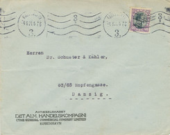 "DÄNEMARK 1921 König Christian X 40Ö (seltene PERFIN) Auf Pra.-Brief M. Selt. Maschine-Stempel ""KJOBENHAVN / 3."" N DANZIG - Cartas"