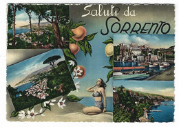10.082 - SALUTI DA SORRENTO 4 VEDUTE NAPOLI RAGAZZA GIRL PIN UP 1955 - Andere Steden