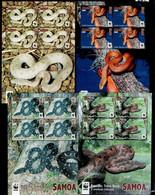SAMOA 2015 WWF SNAKES 4 X MINISHEETS Mi 1222-1225 MNH - Unused Stamps