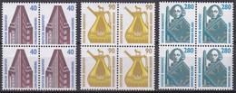 BRD, 1988, Nr. 1379-1381 ** Sehenswürdigkeiten (IV), 3 Viererblöcke - Neufs