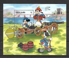Disney Union Islands 1989 Cugnots Artillery Tractor - PHILEX FRANCE MS MNH - Disney